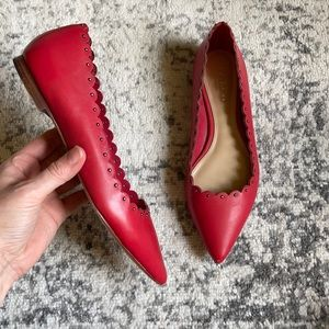 Coach Jill Red Studded Scalloped Pointed Flats 5.5